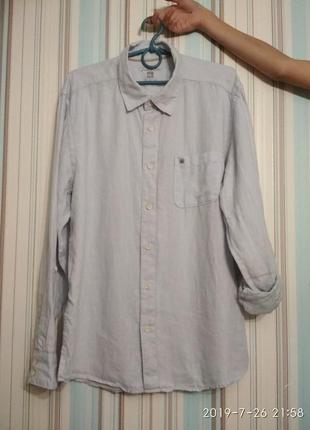 Рубашка мужская лён льняная лен голубого цвета