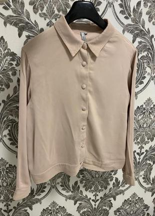 Рубашка кофта на пуговицах пудровая розовая