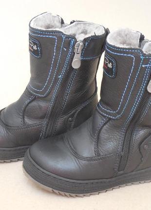 Зимние кожаные ботинки на цигейке для мальчика
