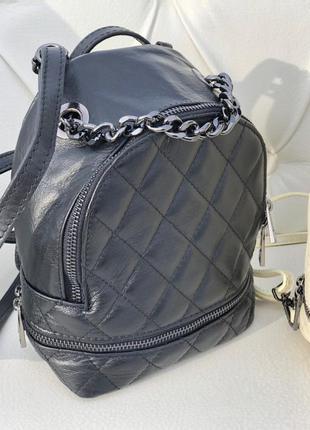 Маленький кожаный рюкзак сумка кроссбоди италия в стиле сhаnеl...