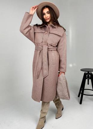 Зимнее пальто-рубашка в стиле оверсайз