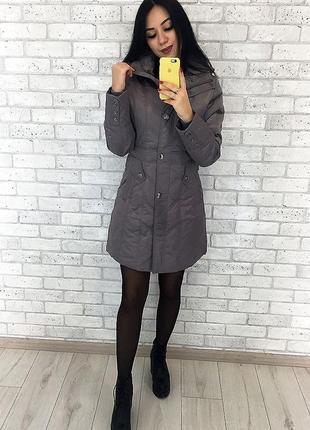 Демисизонная куртка пальто плащ серая