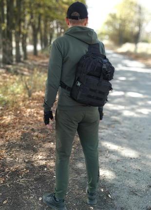 Тактический однолямочный рюкзак на 15 литров (черный)