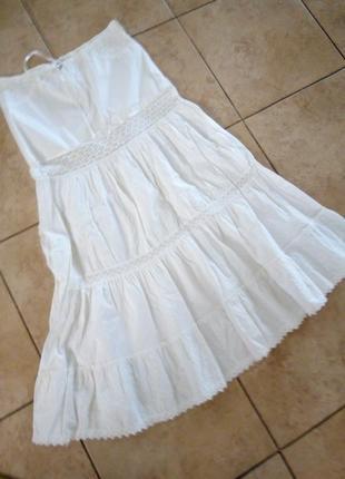Натуральная с кружевом и вышивкой юбка италия