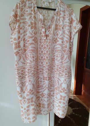Натуральное  супер удобное платье рубашка h&m большого размера