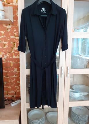 Вискозное актуальное платье  рубашка  с пояском