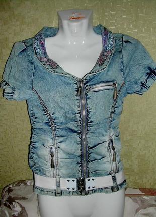 Женская летняя кофта  с поясом джинсовая