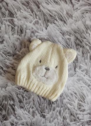 Детская шапка мишка, шапка на новорожденного, bhs шапка с ушками