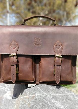 """Кожаная мужская сумка мессенджер """"бронкс"""". кожаный коричневый ..."""