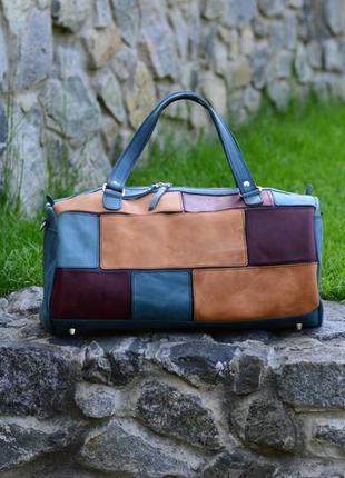 Спортивная кожаная сумка, круглая дорожная сумка