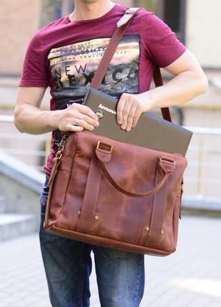 Коричневая кожаная сумка для ноутбука 15 дюймов