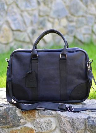 "Синяя сумка для ноутбука ""сенатор"", мужская кожаная сумка на п..."
