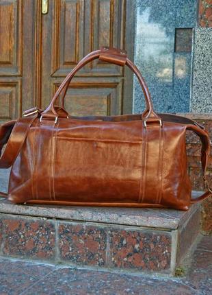 Коричневая сумка «sport&travel ds» для путешествий, кожаная до...