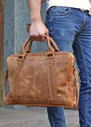 Коричневая кожаная сумка для ноутбука, мужской кожаный портфел...