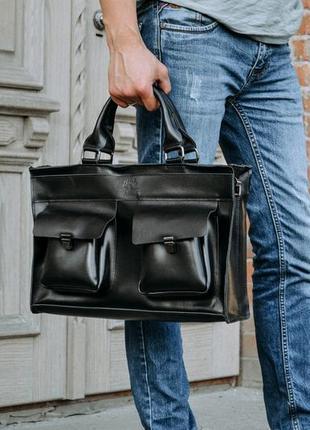 Премиальная кожаная мужская сумка, черный мужской портфель для...