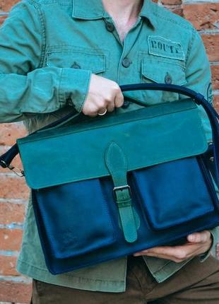 Кожаная сумка унисекс, портфель для документов