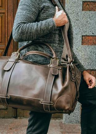 Дорожная мужская кожаная сумка, коричневая спортивная сумка