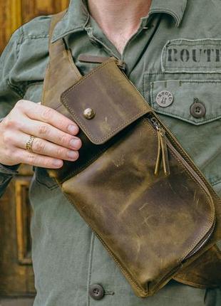 Набедренная сумка, кожаная бананка на плечо, ресайклинг сумка