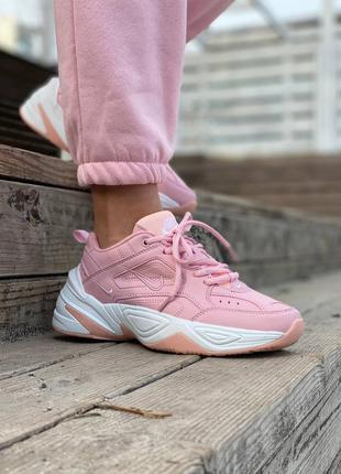 Женские кожаные кроссовки nike розового цвета