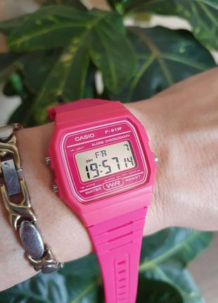 Классические ярко-розовые часы f-91wc-4aef от casio, оригинал ...