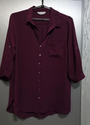 Летящая блуза винного цвета