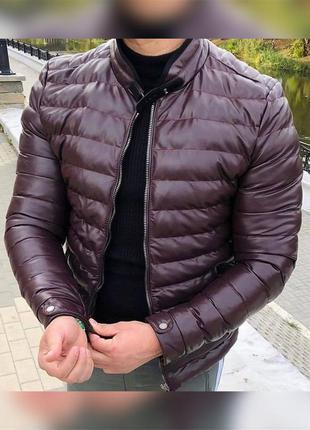 Кожанка мужская стеганая кожзам бордовая / куртка чоловіча...