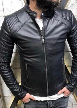 Кожанка мужская флис черная / куртка чоловіча курточка косуха ...