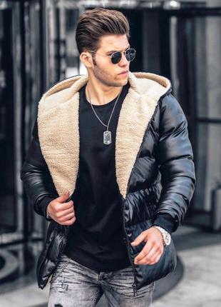 Кожанка мужская теплая с мехом стеганая черная / куртка чолові...
