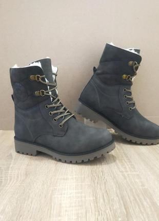 Серые высокие ботинки сапоги с мехом зимние теплые эко нубук к...