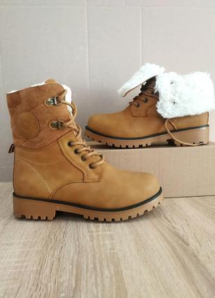 Рыжие высокие ботинки сапоги с мехом зимние теплые эко нубук к...