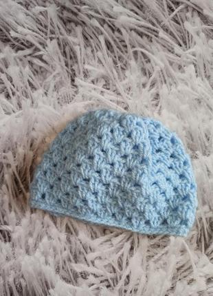 Шапка берет ажурная на девочку, детская шапка на новорожденного