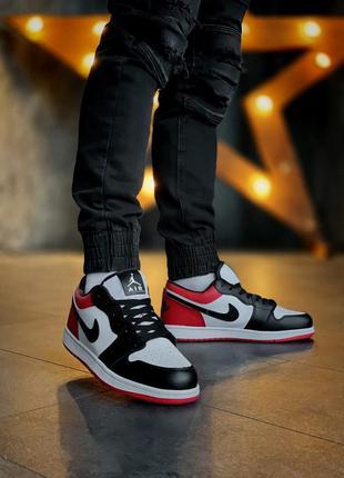 Мужские кожаные кроссовки nike air jordan 1 low