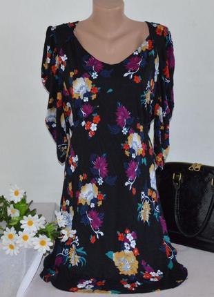 Брендовое миди платье south вискоза цветы большой размер