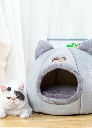 Домик лежанка для кошек собак круглая меховая трансформер 2 в ...