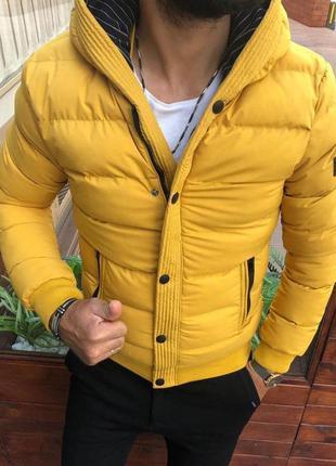Куртка мужская стеганая желтая турция / курточка чоловіча жовт...