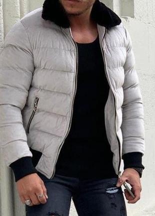 Куртка мужская стеганая с мехом белая турция / курточка чолові...