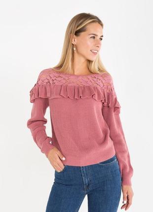 Новая женская кофта свитер с ажурными вставками