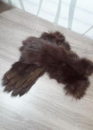 Кожаные перчатки с натуральным мехом