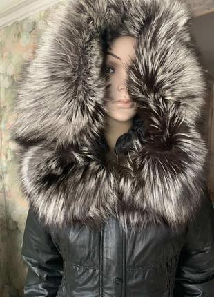 Куртка кожаная с настоящей чернобуркой 48.