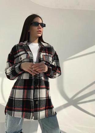 Кашемировое пальто - рубашка с асимметричным низом