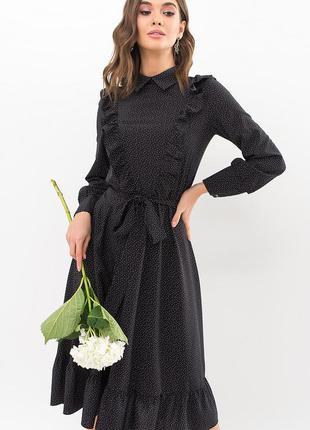 Платье миди в горошек с рюшами ниже колена черное