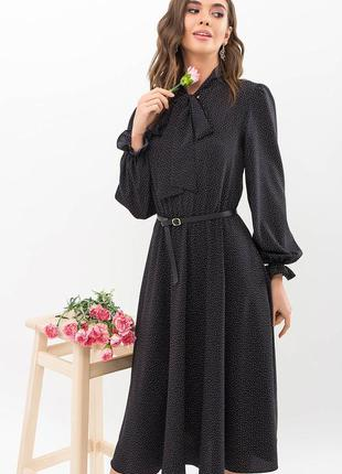 Платье миди в горошек черное ниже колена с бантом