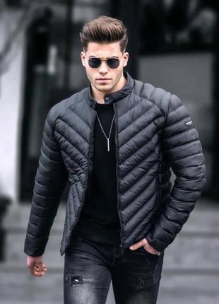 Куртка мужская стеганая черная турция / курточка чоловіча стьо...