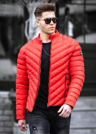 Куртка мужская стеганая красная турция / курточка чоловіча сть...