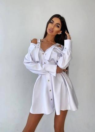 Платье-рубашка на плечиках белое S/M