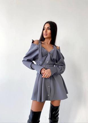 Платье-рубашка на плечиках серое S/M
