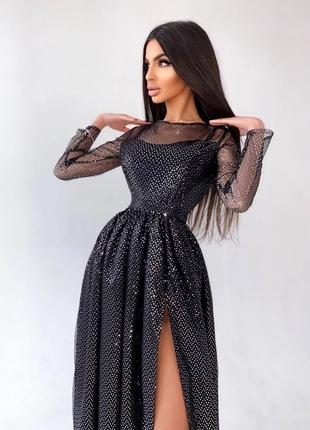 Платье-макси с голографическими блёстками черное S/M
