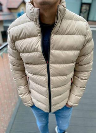 Куртка мужская стеганая бежевая турция / курточка чоловіча сть...