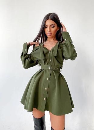 Платье-рубашка на плечиках Хаки S/M