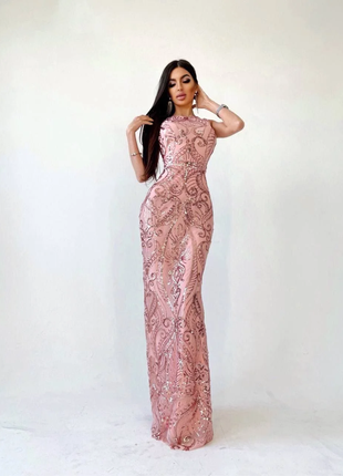 Платье-макси с узорами из пайеток розовое S/M